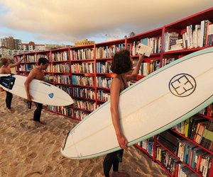 book, surf, and beach image