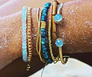 bracelet, blue, and summer image
