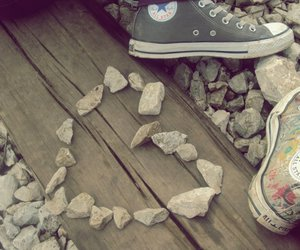 converse, heart, and rails image