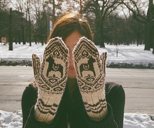 girl, winter, and gloves image