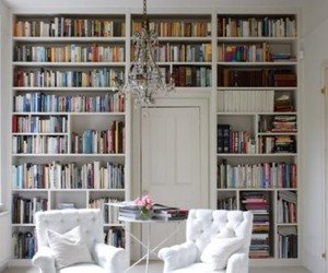 books, chandelier, and library image