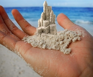 beach, sand, and castle image