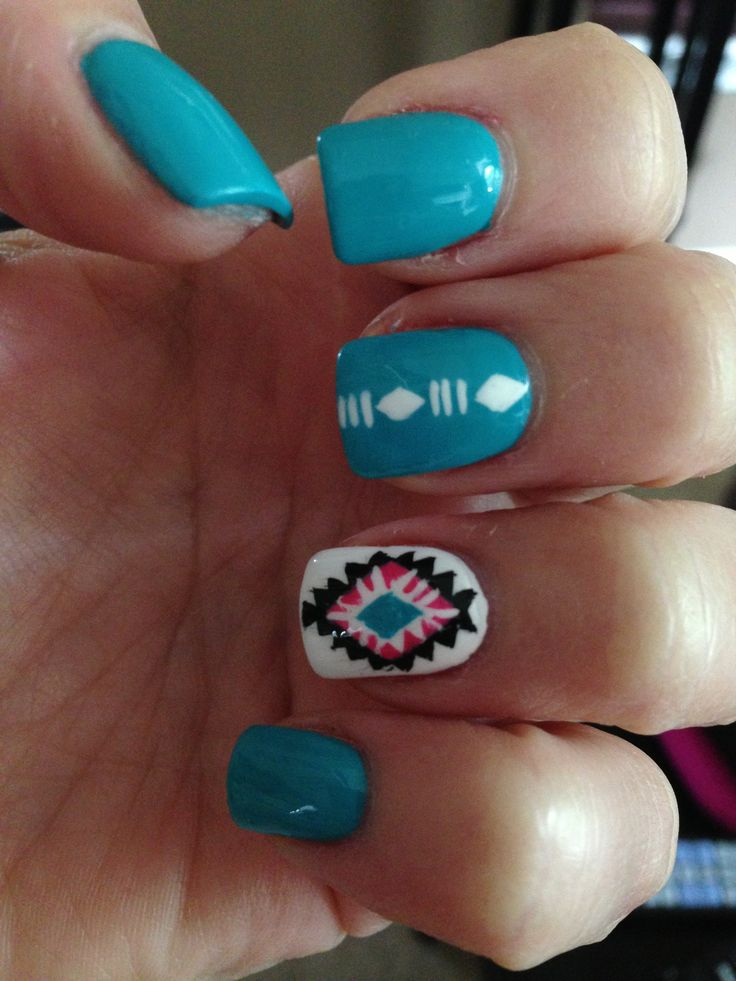 Aztec nails shared by Tiana ♡ on We Heart It