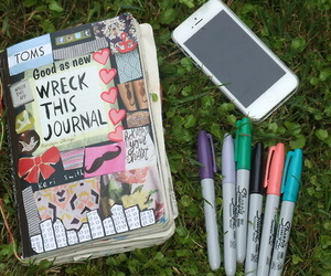 wreck this journal, iphone, and book image