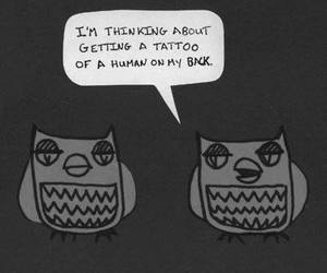 owl, tattoo, and funny image