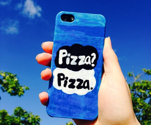 pizza, iphone, and blue image