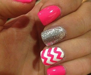 pink, nails, and white image