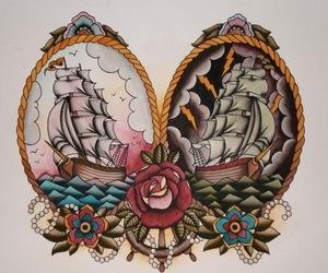 tattoo, ship, and art image