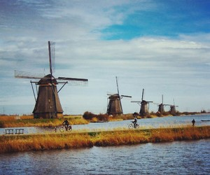 bicycle, netherlands, and river image