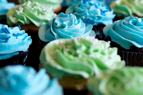 blue, cupcakes, and food image