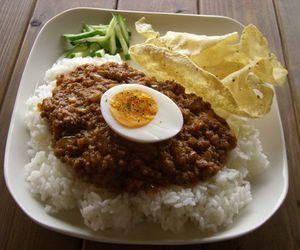 curry, egg, and food image