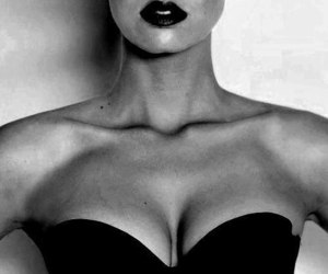 beauty, black and white, and clavicle image