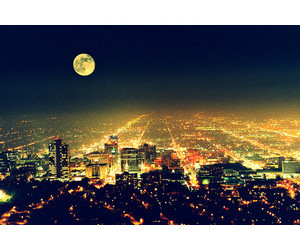 city, light, and moon image