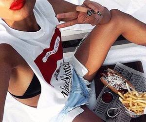 model, fashion, and fries image