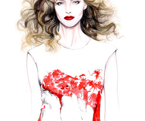 art, red dress, and fashion image