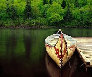 boat, nature, and tree image