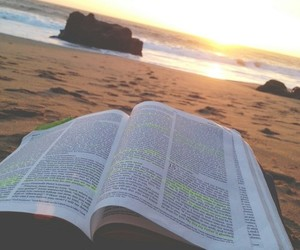 book, beach, and bible image