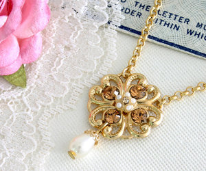 bridal necklace, flower necklace, and vintage style image