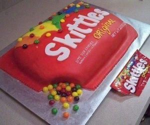 skittles, cake, and food image