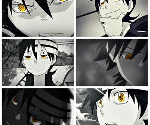 anime, black and white, and Collage image