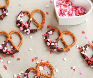 chocolate, hearts, and pretzels image