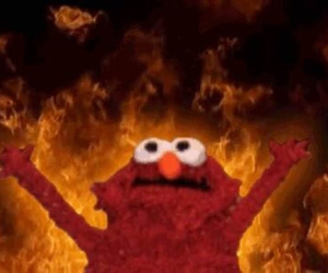 elmo, meme, and fire image