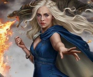game of thrones, dragon, and daenerys image