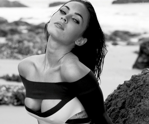beach, brunette, and black and white image