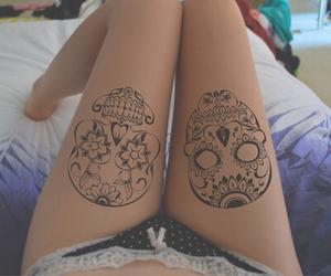 tattoo, skull, and legs image