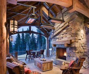 home, winter, and fireplace image