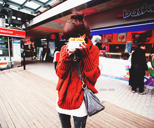 girl, food, and sweater image