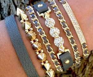 bracelet, gold, and style image