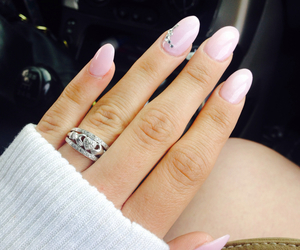 oval, pink nails, and rhinestones image