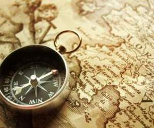 map, compass, and vintage image