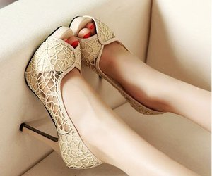 heels, shoes, and lace image
