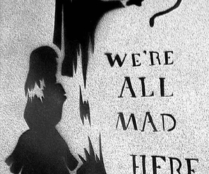 alice in wonderland, black and white, and mad image