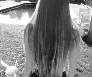 black and white, blonde, and long hair image