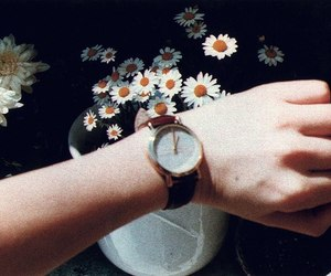flowers, vintage, and watch image