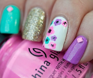 nails, glitter, and floral image