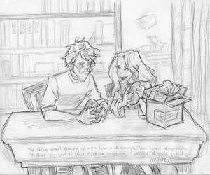 ginny weasley, harry potter, and library image