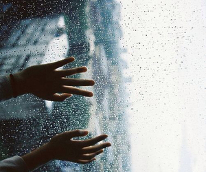rain, hands, and window image
