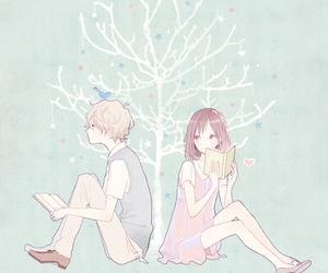 anime, couple, and book image