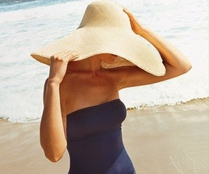 beach, ocean, and hat image
