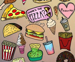food, pizza, and ice cream image