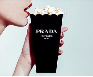 Prada, popcorn, and black image