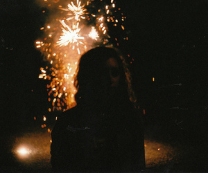 girl, fireworks, and vintage image