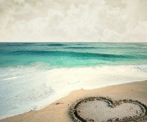 beach, heart, and ocean image