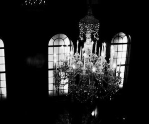 black & white, crystals, and chandellier image