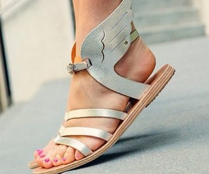 metallic, sandals, and summer image