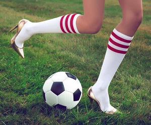 football, heels, and soccer image